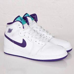 Air Jordan 1 High Top White , Purple & Turquoise
